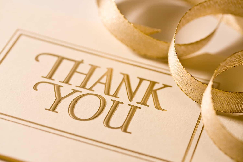 Danksagung nach der Hochzeit